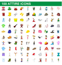 100 attire icons set cartoon style vector image vector image