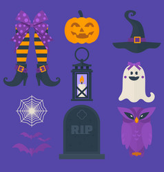 funny halloween icons set including sweets vector image vector image