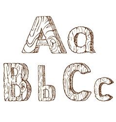 Hand-drawn wooden alphabet A B C vector image
