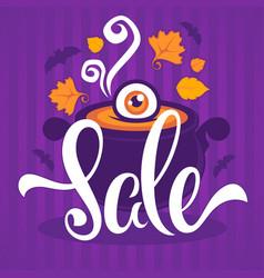 happy halloween sale banner flyer card template vector image