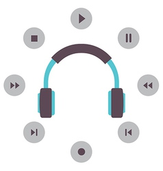 Headphone With Radio Buttons vector image vector image