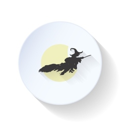 The witch flies on a background of the moon flat vector image vector image