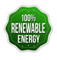 100 renewable energy label or sticker vector image