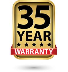 35 year warranty golden label vector image
