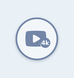 4k video content round icon vector image