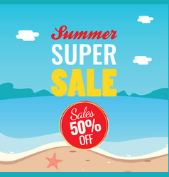 50 off summer super sale banner promotion summer vector