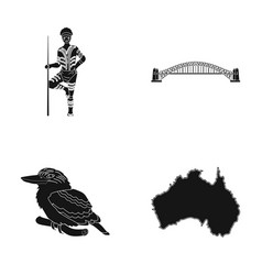 aborigine with a spear sydney harbor bridge vector image