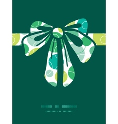 Abstract green circles gift bow silhouette vector