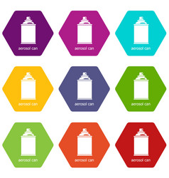 aerosol can icons set 9 vector image