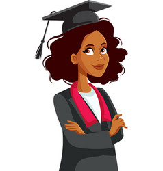 African female student wearing mortar board and vector