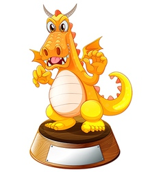 An angry dragon above the trophy stand with an vector