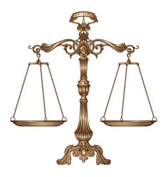 Antique ornate balance scales vector