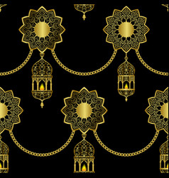 arabic golden luxury seamless pattern on black vector image