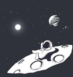 Astronaut sunbathes on the moon vector