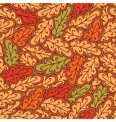 Autumn oak leaves seamless pattern vector image