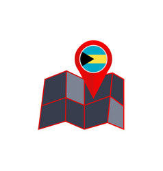 Bahama map pins are isolated with country flags vector