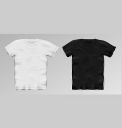 black and white realistic male t-shirt blank vector image