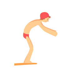 Boy in trunks and silicone cap on starting block vector