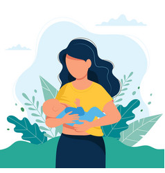 breastfeeding mother feeding a baby vector image