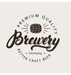 Brewery hand written calligraphy lettering logo vector image