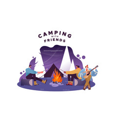 camping with friends concept people in bonfire vector image