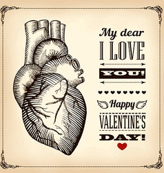 Card Valentines Day with the human heart vector image