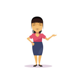 Cartoon asian business woman holding hand gesture vector