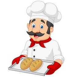 Cartoon Chef Serving bread vector