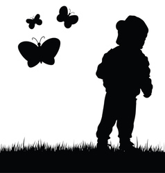 Child with butterfly in nature vector