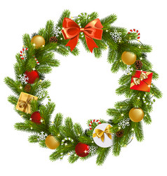 christmas fir wreath vector image