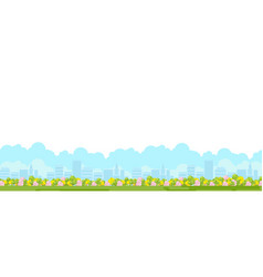 City park panoramic view with green garden vector