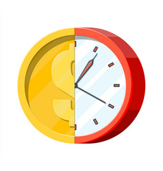 Clock and golden coin vector