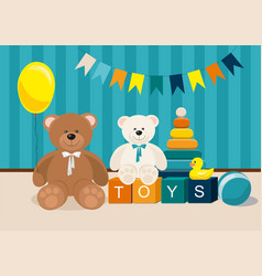 Clorful kids toys teddy bear pyramid and other vector