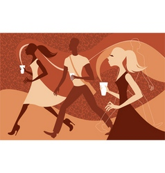 coffee people vector image