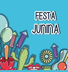 Colorful elements of festa junina celebration vector