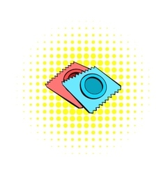 Condoms icon in comics style vector image