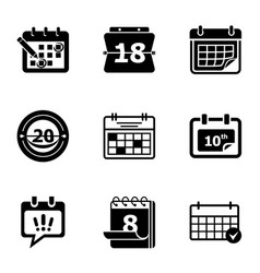 Current time icons set simple style vector