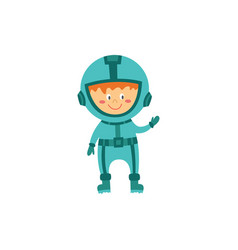 cute child astronaut or cosmonaut cartoon vector image