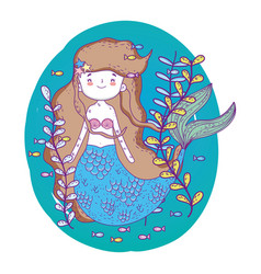 Cute mermaid woman underwater with plants vector