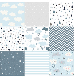 cute seamless patterns for weather design vector image
