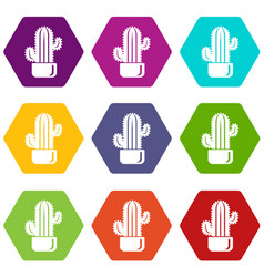 Cylindrical cactus icons set 9 vector