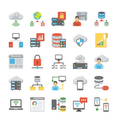 data storage and databases flat icons set vector image