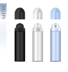 Deodorant spray aluminum can set cosmetic vector
