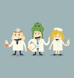 Doctor and nurse team set vector
