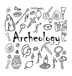 Doodle ancient objects archeology history vector