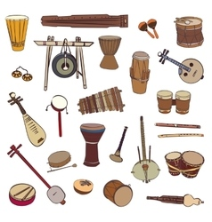 Ethnic traditional musical instruments vector