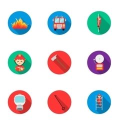 Fire department set icons in flat style Big vector