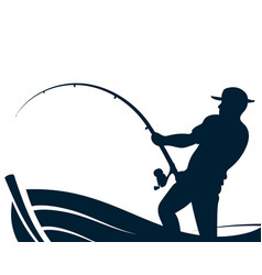 Fisherman with a fishing rod in the boat vector