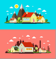 flat design city set abstract towns with houses vector image