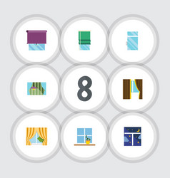 flat icon frame set of curtain glass frame vector image